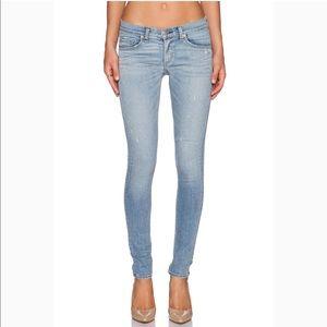 RAG & BONE The Skinny Light Wash Distressed Jeans